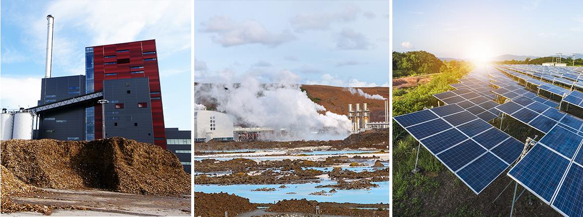 image panoramique pour représenter les 3 energies vertes, montage sur photoshop